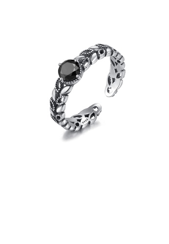Glamorousky silver 925 Sterling Silver Fashion Simple Leaf Obsidian Adjustable Open Ring 9E85CAC4474ED4GS_1