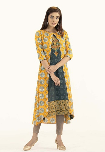 Le Reve yellow and green and multi LE REVE Women Shrug Style High Low Tunic Dress 48F10AA1E9CE87GS_1