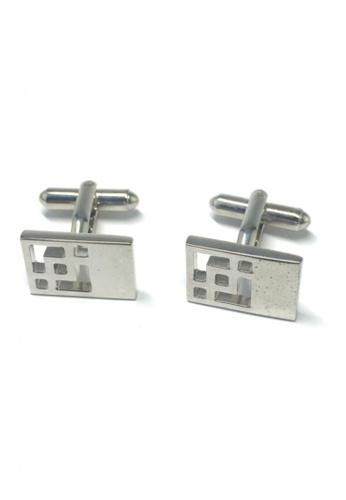 Splice Cufflinks silver Silver Patterned Rectangle Cufflinks SP744AC22FSVSG_1