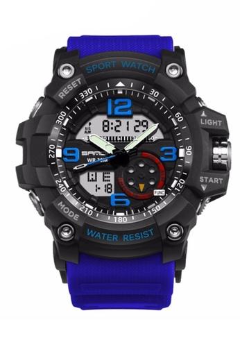 SANDA blue SANDA 759 G Style Military Waterproof Outdoor Sports Men's Shockproof Digital Watch (Black Blue) SA708AC0RXE5MY_1