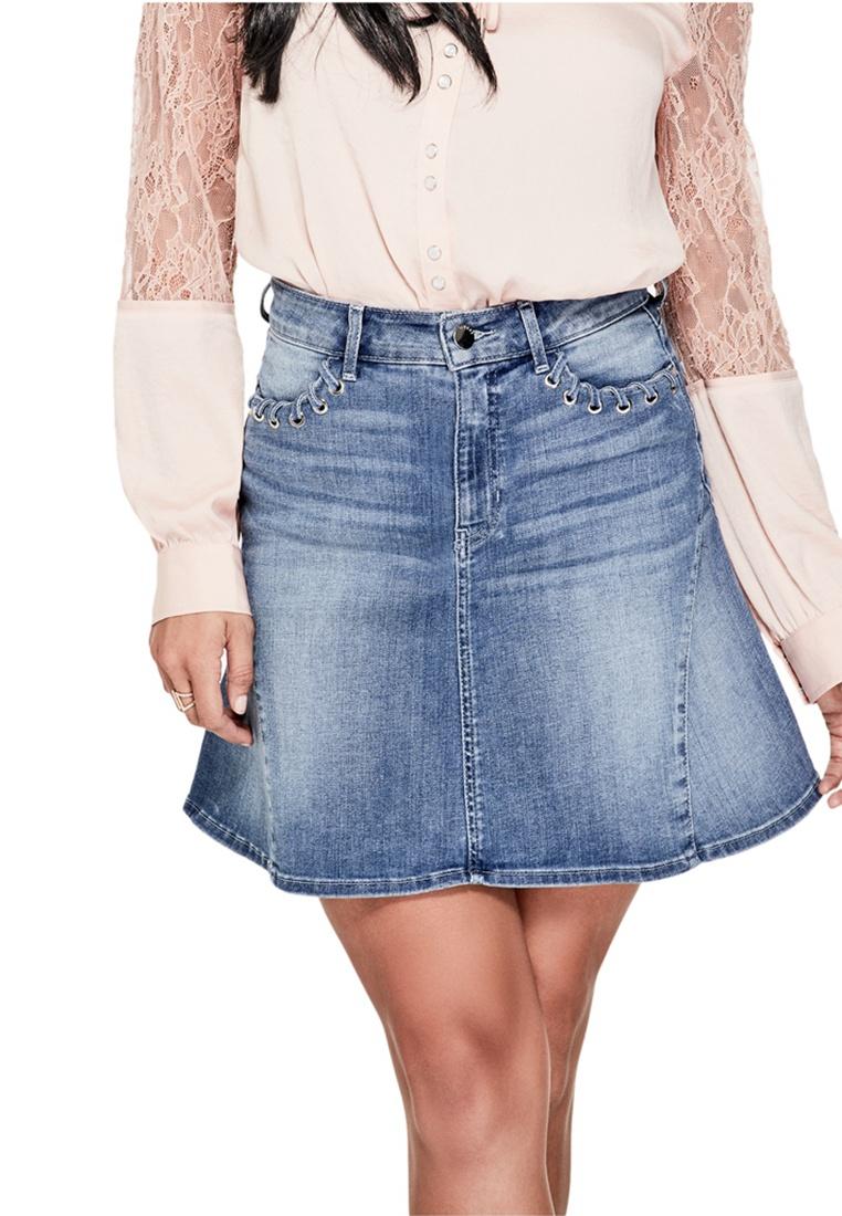 Skirt Blue Guess Flared Rise Denim High 1wO7Aqp