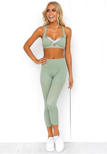 B-Code green BYG9792 Lady Yoga Fitness Crop Top and Leggings Two Pieces Set Green 74B16AA9153BC2GS_1