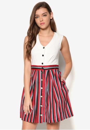 條紋esprit au裙擺鈕扣洋裝, 服飾, 洋裝