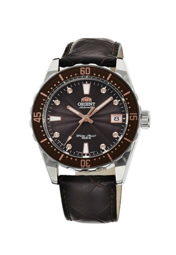Orient brown Orient Men Watch Mechanical Sports Brown Crocodile Textured Leather Strap Watch ORFAC0A005T C78F8ACA0D26BBGS_1