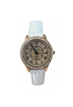 Gold Tone Diamond Roman Numeral Leather Watch Design