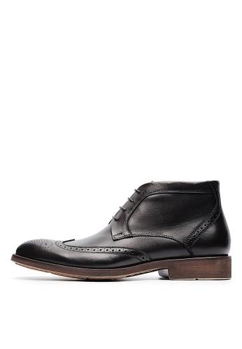 頭層油蠟牛皮。英式牛津雕花短靴esprit 內衣-04622-黑色, 鞋, 靴子