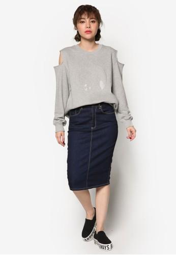 韓時尚刺繡玫瑰花zalora 鞋評價挖肩長袖衫, 服飾, 外套