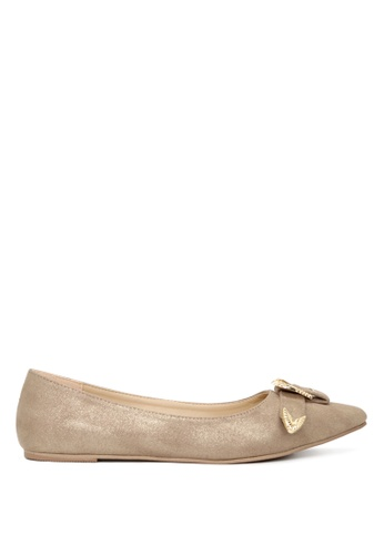 London Rag gold Gold Flat Ballerinas with Gold Buckle SH1702 F075BSH1FBE9DCGS_1