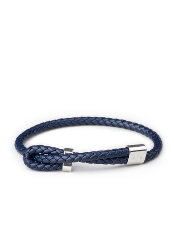 PLAIN SUPPLIES silver and navy Wve Bracelet — Navy Leather 1671DACE247310GS_1