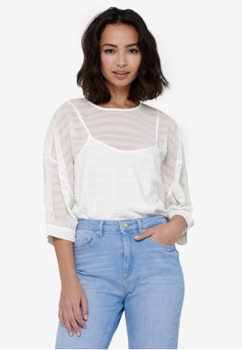 ONLY white GINA 3/4 SLEEVE TOP 6FAACAAA22B6F1GS_1