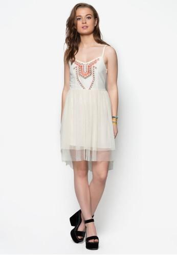 刺繡圖案細肩帶洋裝zalora 手錶, 服飾, 夏日洋裝