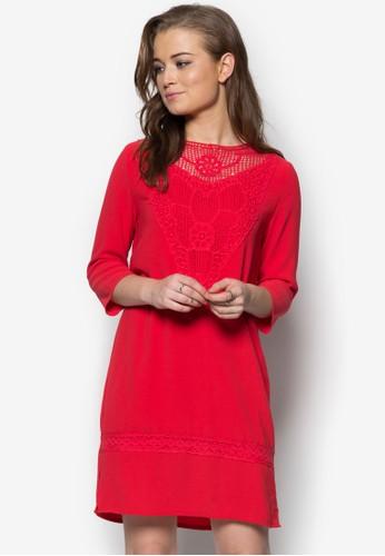 刺繡拼接七分袖連身裙, 服飾, zalora鞋子評價服飾