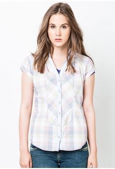 Checkered Button Down Short Sleeve Shirt