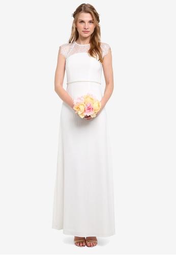 ZALORA white Bridesmaid Lace Yoke Embellished Belt Maxi Dress B5169AA3E289D4GS_1