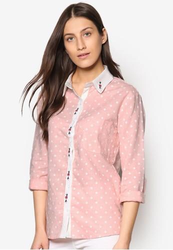 esprit 見工撞色點點長袖襯衫, 服飾, 上衣