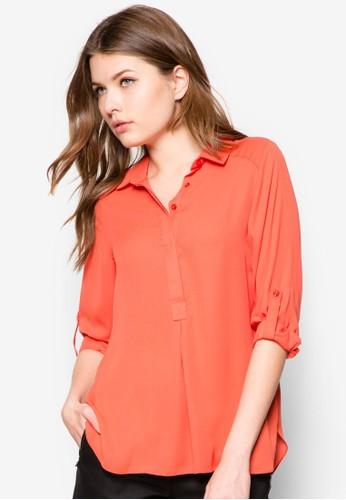 Coral Collar Rollszalora 台灣門市leeve Shirt, 服飾, 襯衫