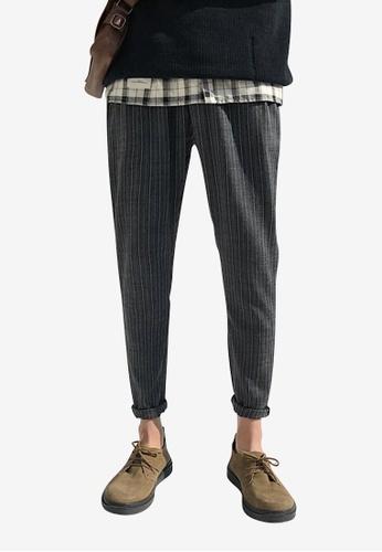 hk-ehunter 灰色 男裝氣條紋九分褲子 C4E98AA5816410GS_1