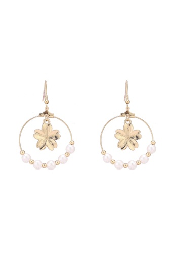Saturation multi Open Circle Sakura & Pearl Drop Earrings 8720AACFB253D6GS_1