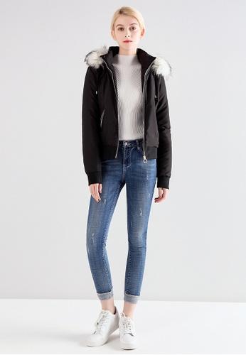 London Rag black Faux Fur Hoodie Jacket DE067AAEF9EA16GS_1