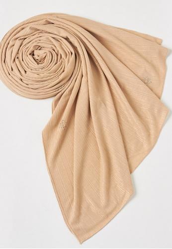 KASHKHA beige Shimmer stretch jersey scarf-BEIGE F05F0AABBF17C2GS_1