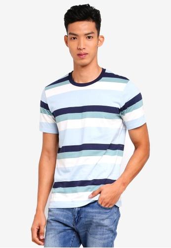 MANGO Man blue Striped Cotton T-Shirt MA449AA0T1DYMY_1