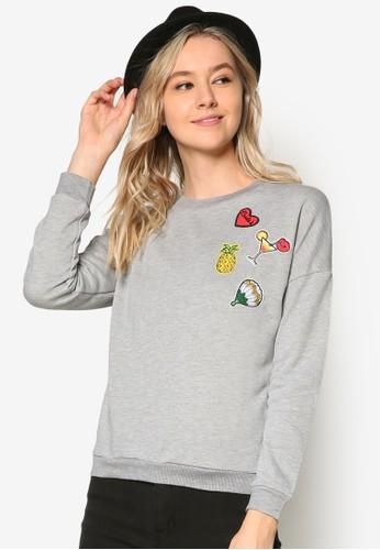 水果刺繡圖案長袖衫、 服飾、 連帽T-shirt & 連帽外套SomethingBorrowed水果刺繡圖案長袖衫最新折價