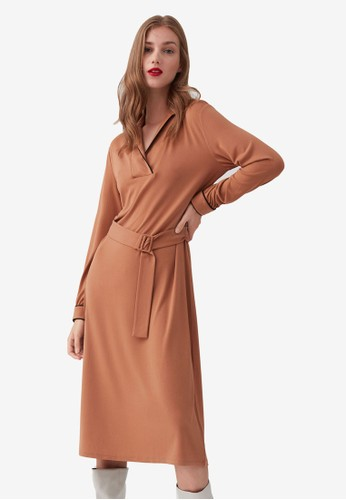 OVS brown Collar And Long Sleeves Stretch Dress B3182AAA7C63D5GS_1