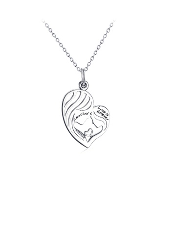 Glamorousky silver 925 Sterling Silver Fashion Creative Mother and Daughter Heart Pendant with Necklace AB448AC8F6DABBGS_1