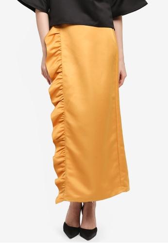 Zalia yellow Frill Wrap Skirt E63D9AA8B41643GS_1