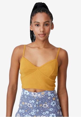 Cotton On Body yellow Rib Lace Sleep Bustier E9C1DAA9986037GS_1