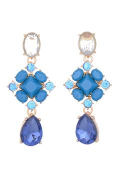 Ornate Blue Faceted Stone Earrings