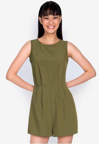 ZALORA BASICS green Tie Back Sleeveless Playsuit 81824AAD7659B5GS_1
