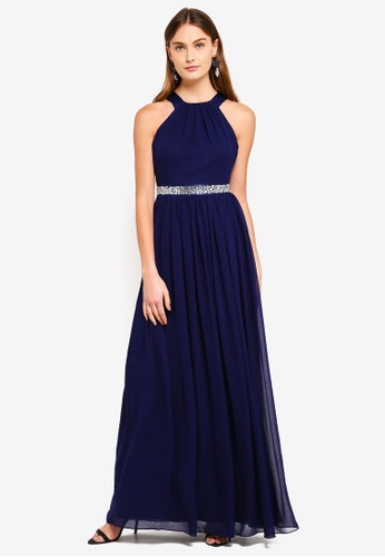 Goddiva navy Halter Neck Chiffon Maxi Dress 7B35FAA2EFADD8GS_1