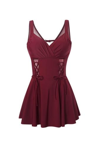 YG Fitness red Sexy Gauze Big Backless One-Piece Swimsuit 6393EUS4C87483GS_1