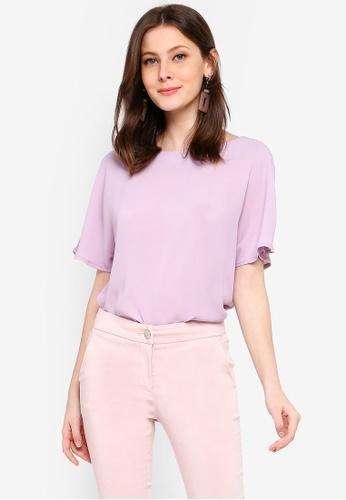 FORCAST purple Cordelia Short Sleeve Top 99A70AA5AAB39CGS_1
