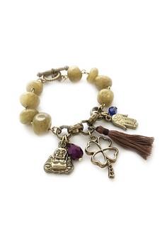 Clover, Hamsa and Buddha Bracelet