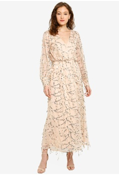 f88176db0 Miss Selfridge pink String Sequin Wrap Maxi Dress 0A25FAA4C5984DGS_1
