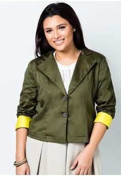 Ladies Blazer with Color Contrast Cuff