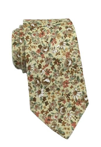 Splice Cufflinks Featherweight Series Floral Design Beige Cotton Tie SP744AC52LNVSG_1