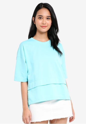 UniqTee blue Side Slit Top 3D8B0AAD948629GS_1