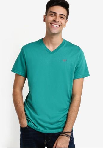 Hollister green Pop Icon V-Neck T-Shirt HO422AA04GQDMY_1