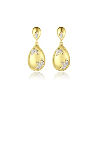 Glamorousky white Simple and Elegant Plated Gold Pattern Water Drop-shaped Stud Earrings with Cubic Zirconia 6C40AAC53F307FGS_1