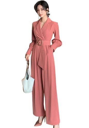 Sunnydaysweety red High Waist Slimming Collar Jumpsuit A21022243 8086CAA4D3557EGS_1