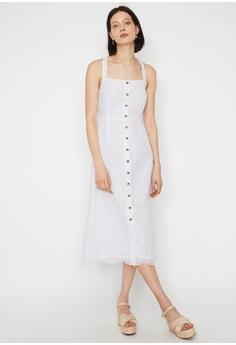 8ea18daf WAREHOUSE white Broderie Pinafore Midi Dress 89C83AA4AFA1F5GS_1