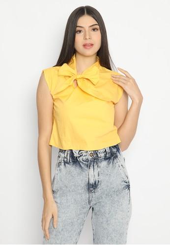 Mannequin yellow Ribbon Crop Top EE052AAD8B5B93GS_1