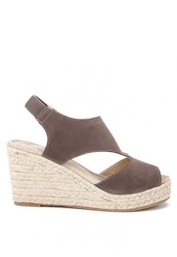 KissXXX 灰色 羅馬風糖果色系絨面舒適麻編坡跟涼鞋 KI603SH09KDJTW_1
