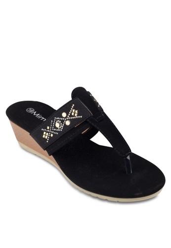 閃esprit 台中飾夾腳楔形涼鞋, 女鞋, 楔形涼鞋