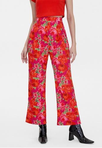 Pomelo purple High Waisted Flower Print Pants - Magenta 87494AA14EA533GS_1