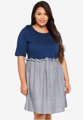 Junarose blue Plus Size Dea Above Knee Dress ECC1AAA40D656BGS_1