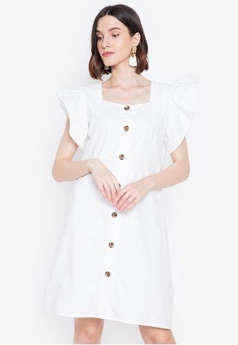 Chictees white Savanah Ruffle Sleeve Dress B3CDDAA1A2C77DGS_1